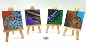 Miniature paintings of butterflies