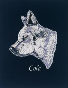 Embroidery portrait of a white cattle dog