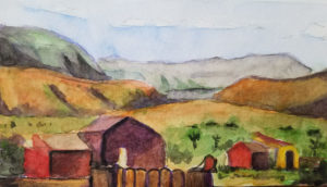 Watercolour of Pioneer Town
