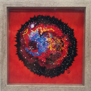 Nebula Embroidery on red background